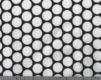 Large White Polka Dots on Black Print - Cotton Fabric - Last Yard