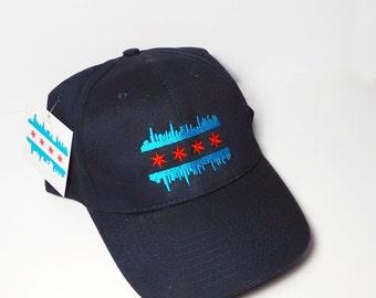 Chicago Flag - Baseball Cap - Baseball Hat - Skyline
