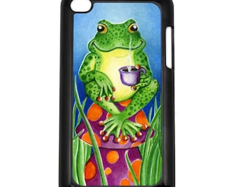 Morning Joe Coffee Frog Apple iPod Touch 4th Generation Hard Case Original Animal Art (Choose Case Color)