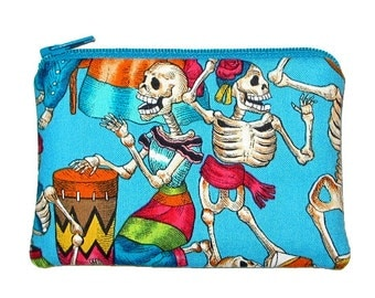 SALE - Day of the Dead Fiesta de los Muertos Turquoise Small Zipper Pouch Coin Purse
