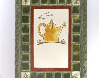 Yellow Watering Can handmade tile mosaic in a green tile frame, handmade tile, mosaic art