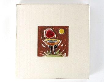 "ON SALE save 20%: Red Bird on Birdbath handmade ceramic tile 4""x4"""