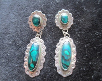 Vintage 1980's Southwestern NAKAI Sterling Silver and Abalone Earrings