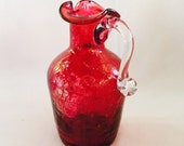 Vintage Ruby Flash Crackle Glass Hand Blown Cruet With Applied Handle