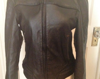 Vintage Ladies Armani Black Leather Jacket Size 8