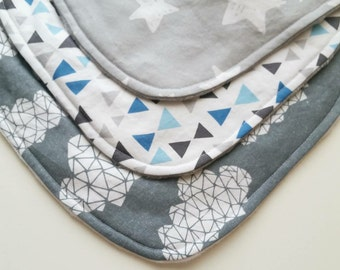 Baby Bib - Baby Gift Set - Baby Drool Bib - Grey and White Baby Bib - Baby Shower Gift - Baby Bib Set