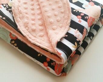Baby Blanket - Minky Baby Blanket - Girls Baby Blanket - Mint Gold Baby Blanket - Black White Baby Blanket - Baby Shower Gift