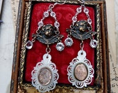 Religious Assemblage Virgin Mary Antique French Mercury Glass Earrings, The Sacred Heart & Our Lady of Lourdes, by RusticGypsyCreations
