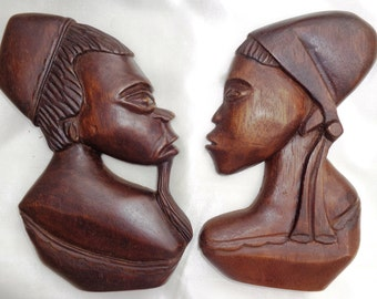 vintage African masks wall decor wood profile man woman wall art collectible Afro-American