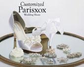 Custom Wedding Shoe - Wedding Shoe -Bridal Shoes - Heels - Shoes- Choose From 6 Embellishments -  Bridal Shoe - Wedding Shoes By Parisxox