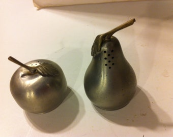 Vintage Set of Pewter Salt and Pepper Shakers