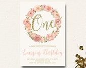 Flower First Birthday Invitation Boho Pink and Gold Floral Birthday Watercolor Invitation Floral Crown Wreath