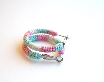 Crochet Tube Small Hoop Earrings Marshmallows Crochet Hoops Pastel Earrings