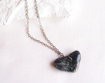 Heart Stone Necklace, Mediterranean Beach Pebble Necklace, Organic Shape, Heart Necklace, Unique Beach Find Jewelry