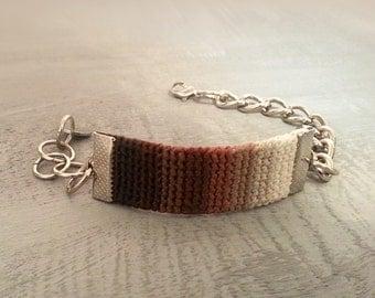 Beige Brown Gradient Bracelet Womens Crochet Band Bracelet Chain Adjustable