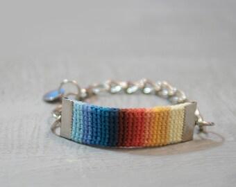 Crochet Strap Bracelet - Colorful Bracelet Gradient Color Combo - Blue Orange Eye Catching Womens Bracelet Chain Adjustable