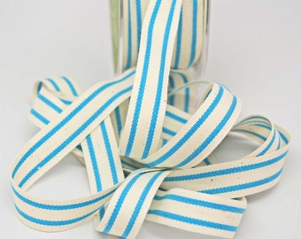 Cotton Stripe Ribbon 5/8 inch -- Natural Turquoise -- Off White Teal Cream
