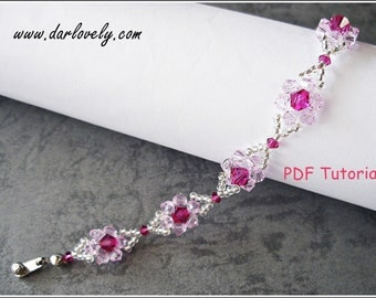 Beaded Bracelet Pattern - Pink Dainty Flower Bracelet (BB068) - Beading Jewelry PDF Tutorial (Digital Download)