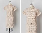 vintage 1960s crochet set / crochet dress set / natural crochet dress / Perfect Afternoon dress