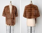 1950s mink cape / vintage fur shawl / brown mink stole / Lovers Crossing cape