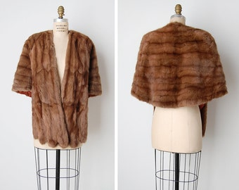 1950s mink cape / vintage fur shawl / brown mink stole / Lovers Crossing cape