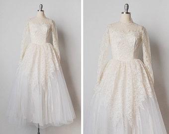vintage 1950s dress / 50s wedding dress / lace wedding gown / Matrimonial Bliss dress