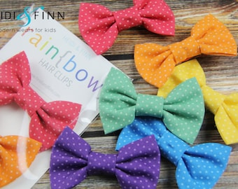 Rainbow Hairbows hairclips polkadot red blue green yellow orange purple