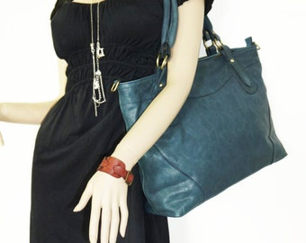 "Nora XL. Teal Blue Leather Cross-body Bag Purse // Leather Handbag // Leather messenger bag// fits a 17"" laptop"