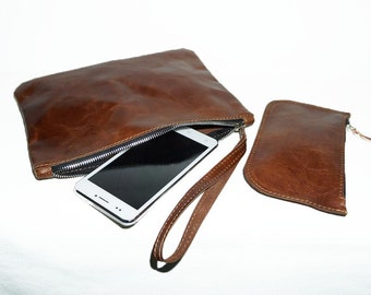 Genuine Leather Clutch and Coin Purse // set of two LEATHER GOODS
