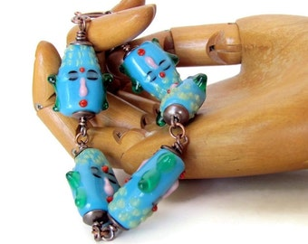 Buddha jewelry unusual jewelry lampwork bracelet lampwork glass Buddha gifts unique bracelets Buddha beaded bracelet Buddhist jewelry