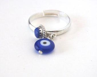 Evil eye jewelry evil eye ring protection ring silver stacking ring adjustable ring voodoo talisman blue lapis lazuli ring lapis ring