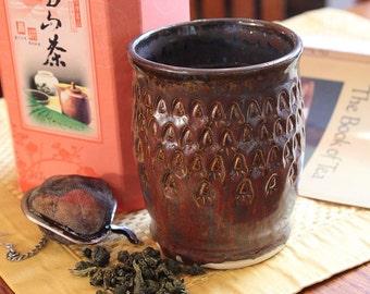 Rustic Ceramic Yunomi Tea Cup or Wine Cup Handmade Tumbler Japanese Inspired Tea Cup in Earth Colors