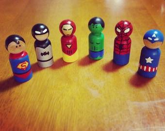 Custom Handpainted Superhero Inspired Peg Doll Toys Craft
