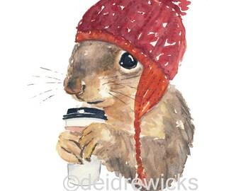 Coffee Squirrel Watercolor PRINT - 5x7 Squirrel Print, Squirrel with Coffee, Knit Hat, Cute Squirrel