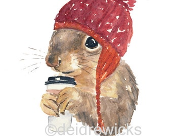 Coffee Squirrel Watercolor - 11x14 Watercolour PRINT, Knit Hat, Illustration Print, Cute Squirrel