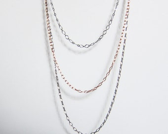 Triple strand necklace Multi chain necklace Layered rose gold necklace Everyday copper jewelry