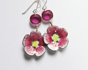Pink enamel flower drop earrings Whimsical boho dangles Enameled bohemian jewelry Gift for her Sale