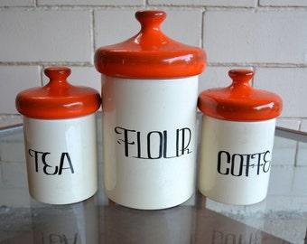 Set of Three Mid Mod Ceramic Canisters