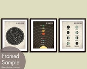 Constellations, Solar System, Moon Phases Map - 3 Art Prints (Featured in Black on White Stone) Modern Astronomy / Outer Space Art Print