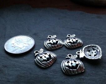 5 Pumpkin Charms, Pendants, Tags, Silver Pendant, Jack o Lantern, Fall Charms, Halloween