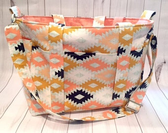 Ultimate Diaper bag with removable strap, Aztec diaper bag, large diaper bag