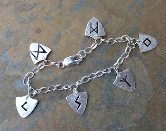 Rune Shield Bracelet - handmade fine silver runic symbol charms on sterling silver chain - personalized - protection - Free shipping USA