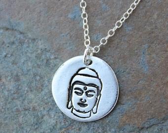 Meditating Buddha Necklace- Handmade small fine silver disc charm - Zen, Wisdom, Buddhism, Yoga, Peace, Meditation- free shipping USA