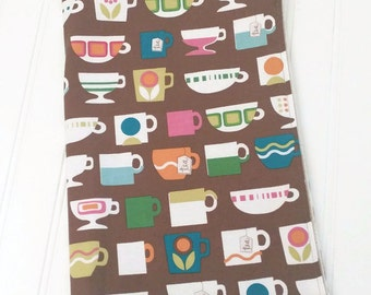 Tea cups kitchen towel, Colorful tea cups, Brown and Pink tea towel, Tea lover gift