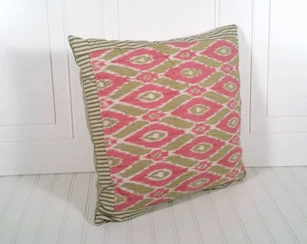 pink and green pillow, insert included, zipper, diamond pattern, 18in x 18in, green stripe