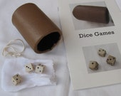 Leather dice cup, 3 dice, game booklet