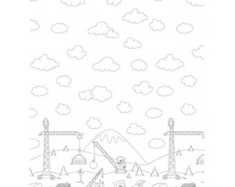 In stock Color me Construction Zone Border by Hayley Crouse for Michael Miller