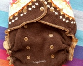 Wool Diaper Cover upcycled Wool One Size soaker Brown with Orange and Pink