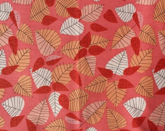 Hello Pilgrim Lizzy House Lots of Leaves pink Andover fabric FQ or more