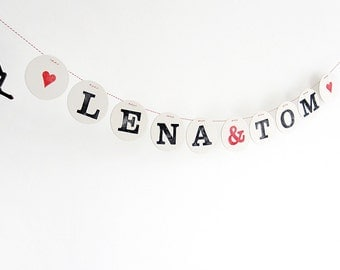 Custom Wedding Banner // personalized wedding garland, bunting with the name of the newlyweds by renna deluxe